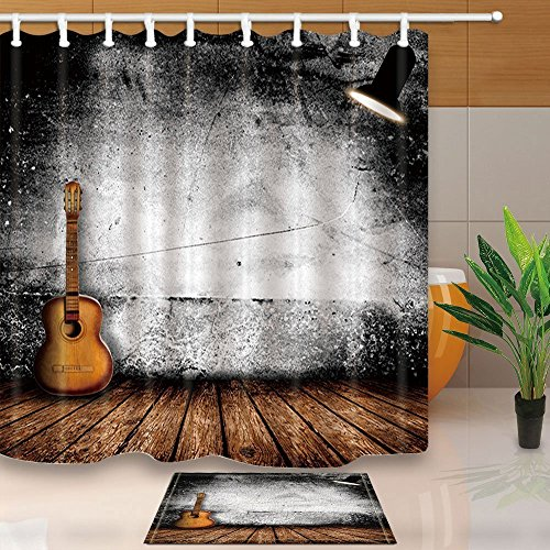 GoHeBe Wooden Floor Decor Guitar in Vintage Music Concert Hall with Lamp,71X71in Mildew Resistant Polyester Fabric Shower Curtain Suit With 15.7x23.6in Flannel Non-Slip Floor Doormat Bath Rugs