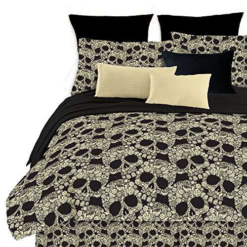 Veratex Soft Luxury Youth 100% Polyester Shell Fully Reversible 3-Piece Modern Flower Skull Comforter Set, King Size, Multicolor (Renewed)