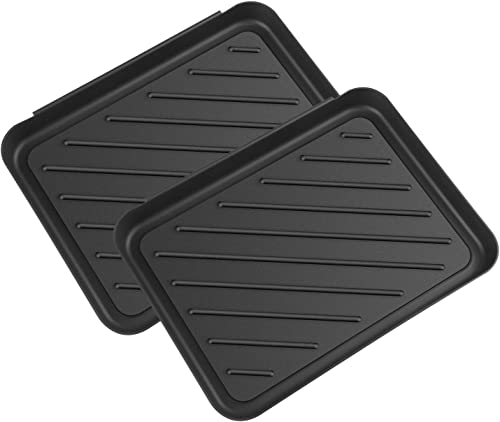 Boot Tray for Floor Protection,2 Pack Black Shoe Mat Trays,Boot Drying Mat w Lip, Dirt Rug, Dog Water Mat Litter Box ray,Garden Garage-Indoor Outdoor Black, 15.8
