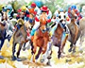 Horse Racing Fine Art Print on 100% Cotton Watercolor Paper
