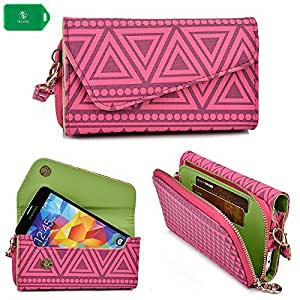 HTC Inspire 4G Universal Ladies wristlet phone holder with bonus crossbody chain in a rasberry pink tribal design