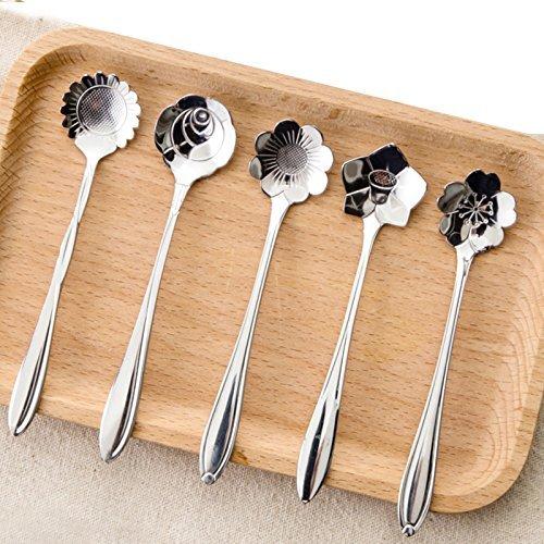NANHONG 5Pcs Edelstahl Silber Geschirr Blume Form Zucker Tee Kaffee L/öffel Teel/öffe