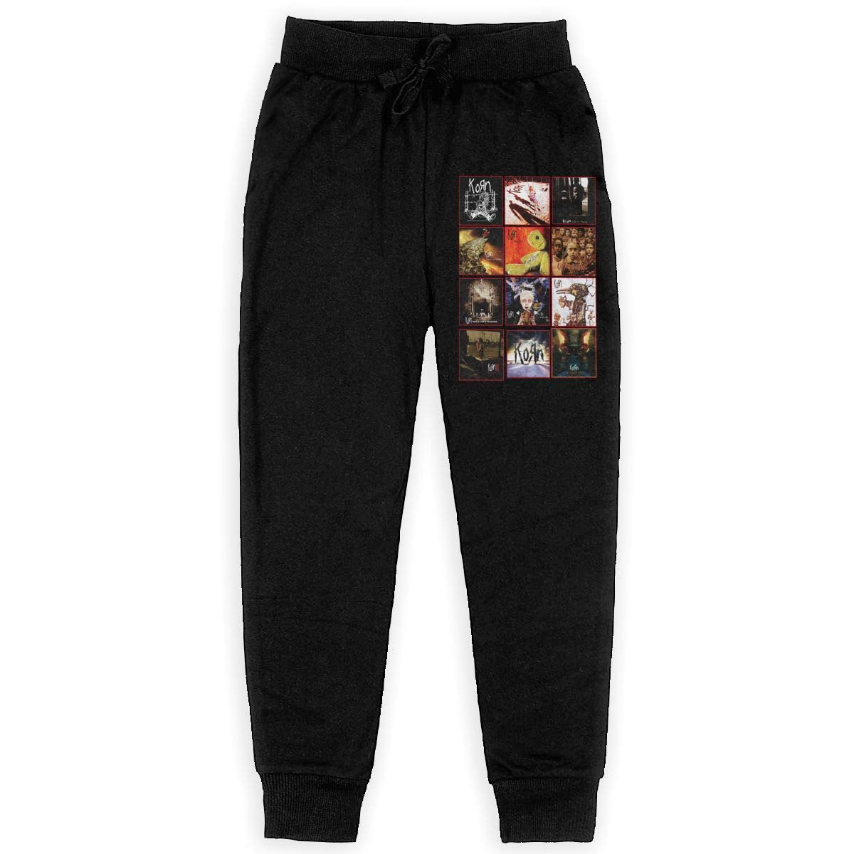 Tangzhikai Unisex Teens Korn Elastic Music Band Fans Daily Sweatpants for Boys Gift with Pockets