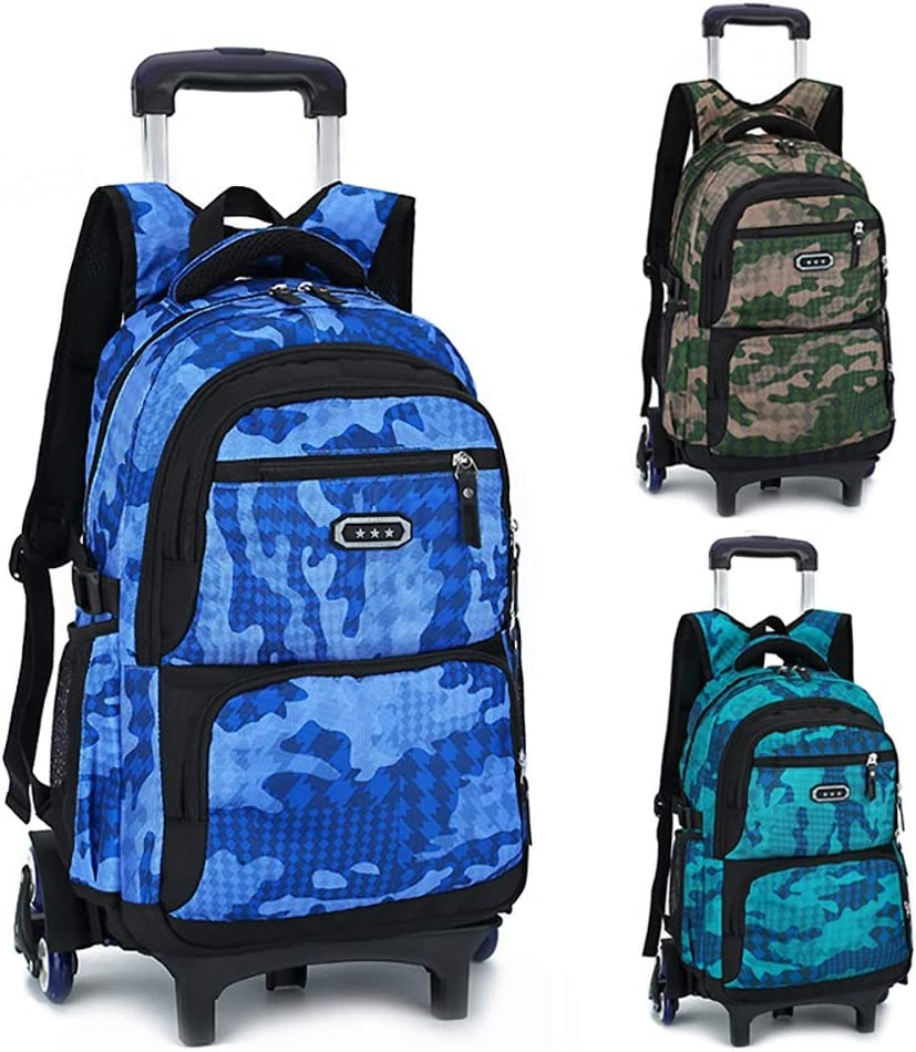 Kids Schoolbag Camo Waterproof Rolling Trolley School Bag Backpack On Wheels Camouflage Wheeled Backpack Carry On Luggage Primary School Students 6 Rounds Of Climbing Stairs Trolley Bag Waterproof Rol