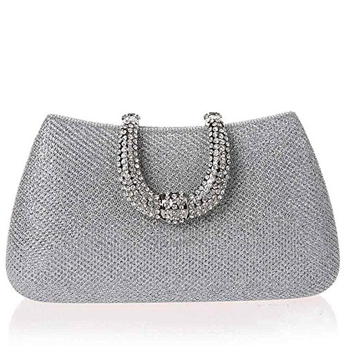 Funny Prom Ideas (Toughsty™ Ladies Silver Clutch Bag Crystals Rhinestone Hard Case Party Handbag Prom Purse)