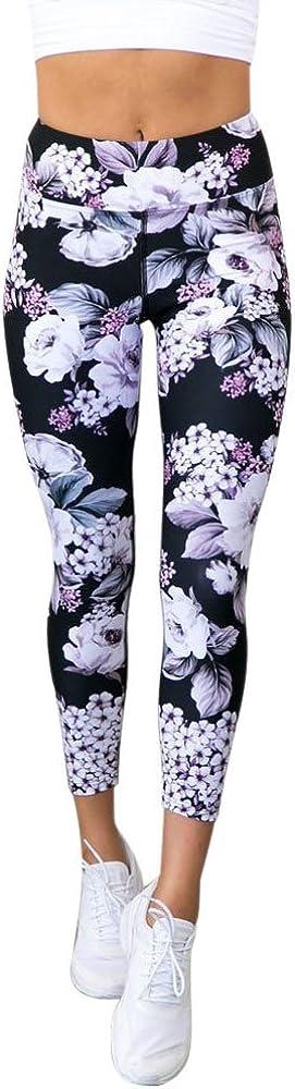 Leggings de Fitness Yoga Mujeres SUNNSEAN 3D Impreso Estampado de Flores Negro para Deportes Casuales Pantalones Deportivos