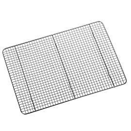 """Hiware Cooling Rack for Baking - 11.8"""" x 16.5"""" - Stainless Steel Wire Cookie Rack Fits Half Sheet Pan, Oven Safe for Cooking, Roasting, Grilling 1 SOLID STAINLESS STEEL GRID CONSTRUCTION - Hiware's cooling rack is made of high quality [GRADE] stainless steel that is made to last for years. The tight grid design gives stability to the rack, which makes it easy to balance baked goods, meats, fruits, and vegetables without the possibility of them falling through the slats. OVEN AND GRILL SAFE - This commercial-grade rack resists heat up to 575 degrees Fahrenheit making it perfect for use in the oven or grill. This versatile rack is the perfect complement to any kitchen and holds up to 20 pounds of food without sagging or bending. PERFECT SIZE - Measuring 11.8""""x16.5"""", the Hiware rack fits inside a half sheet (13""""x18"""") cookie pan or comfortably on a countertop. After use, it is easy to store in your cabinet or drawer."""