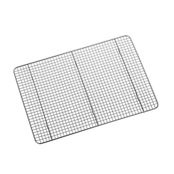 "Hiware Cooling Rack for Baking - 11.8"" x 16.5"" - Stainless Steel Wire Cookie Rack Fits Half Sheet Pan, Oven Safe for Cooking, Roasting, Grilling 1 SOLID STAINLESS STEEL GRID CONSTRUCTION - Hiware's cooling rack is made of high quality [GRADE] stainless steel that is made to last for years. The tight grid design gives stability to the rack, which makes it easy to balance baked goods, meats, fruits, and vegetables without the possibility of them falling through the slats. OVEN AND GRILL SAFE - This commercial-grade rack resists heat up to 575 degrees Fahrenheit making it perfect for use in the oven or grill. This versatile rack is the perfect complement to any kitchen and holds up to 20 pounds of food without sagging or bending. PERFECT SIZE - Measuring 11.8""x16.5"", the Hiware rack fits inside a half sheet (13""x18"") cookie pan or comfortably on a countertop. After use, it is easy to store in your cabinet or drawer."