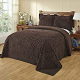 1 Piece Chocolate Oversized Chenille Bedspread Queen, Brown Floral Pattern Oversize To The Floor Extra Long Bedding, Wide Drapes Over Edge Drops Down Shabby Chic French Country Damask Christmas,Cotton