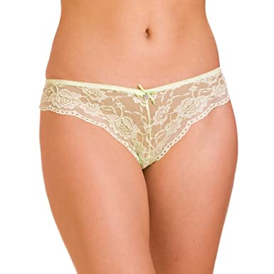 Camille Womens Ladies Underwear Lime Green Lace Bow French Thong Briefs  Knickers 4-18 4 6e0b7d3b6