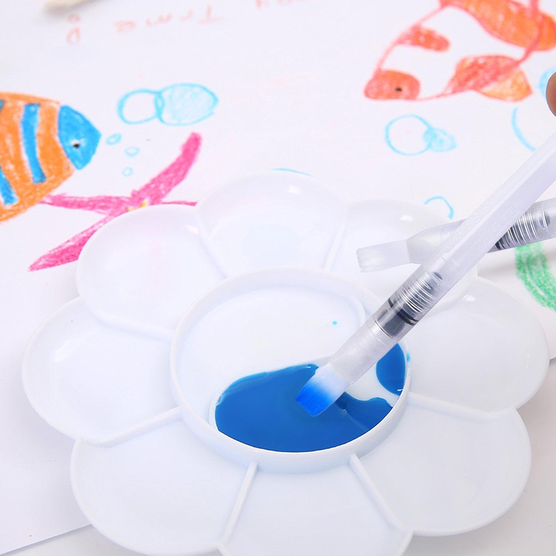 Fine Point Pinsel Flachpinsel Tip Zeichnen Set Wasserpinsel Aquarellfarben mit Tray Mischpalette in Blumenform Water Brush Pen mit Bef/üllbarer Wassertank 6 St/ück Wasserpinsel Stifte bei DigHealth