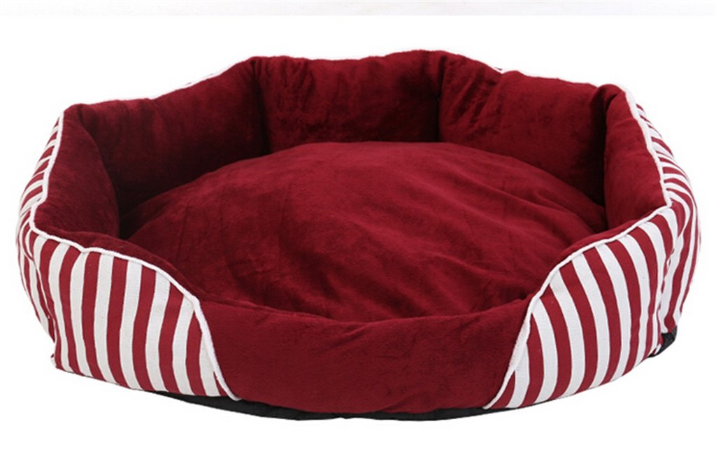 S Pet Nest Cat Litter Kenkel Pet Dog House Mat Comfortable Soft keep caldo Autumn and Winter Red Stripe Pet Supplies (Dimensione: S)