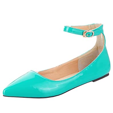 434268cbe2 Vitalo Womens Flat Pointed Ankle Strap Ballet Pumps Ladies Patent Ballerina  Dolly Shoes Size 2UK,