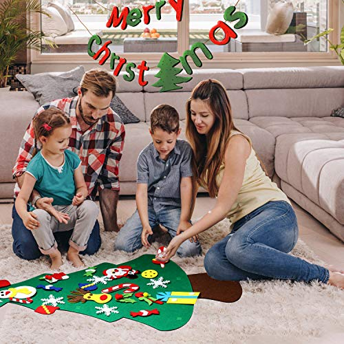 Tobeape DIY Felt Christmas Tree Set with Ornaments, 3.8ft Handmade Door Wall Hanging Decorations for Kids Xmas Gifts New Year Party Supplies
