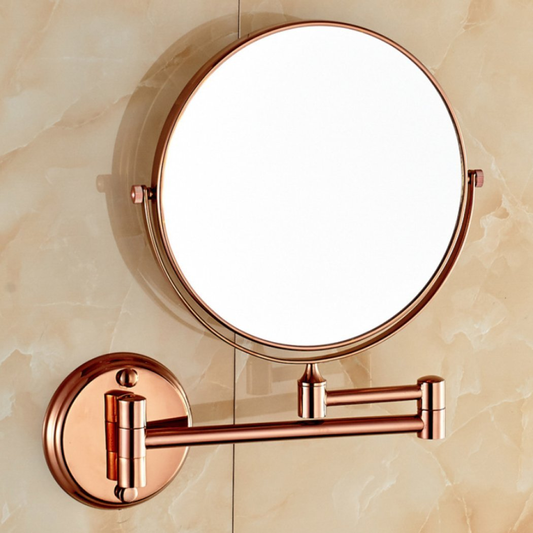AGAOLIGUO 8 inch copper mirror double sided rotation 360 degree folding retractable makeup mirror hotel bathroom creative wall mounted beauty mirror,A1_8inch