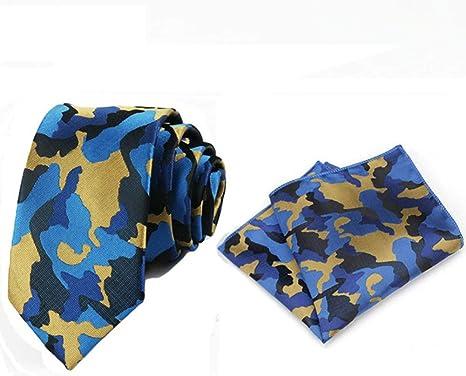 FDHFC Hombres Azul Ejército Verde Camuflaje Corbata De Bolsillo ...