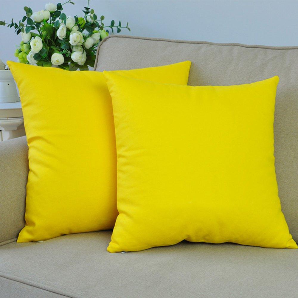 M MOCHOHOME Canvas Decorative Square Solid Throw Pillow Cover Case Pillowcase Cushion Sham - 20'' x 20'', Yellow
