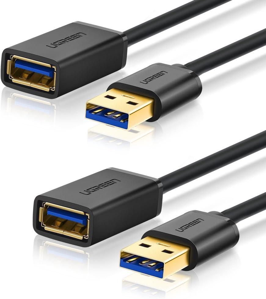 UGREEN Cable Alargador USB 3.0 Cable Extensor 2 Pack USB 3.0 Tipo A Macho a Hembra para Conexión Entre PC, TV y Periféricos como Impresora, Ratón, Teclado, Hub, Pendrive, Xbox, VR Gafas(1 Metro)