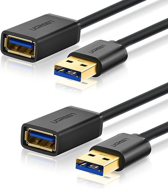 UGREEN Cable Alargador USB 3.0 Cable Extensor 2 Pack USB 3.0 Tipo A Macho a Hembra para Conexión Entre PC, TV y Periféricos como Impresora, Ratón, Teclado, Hub, Pendrive, Xbox, VR Gafas(1