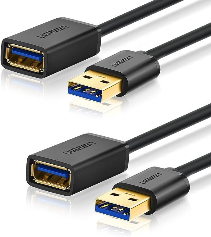 UGREEN Cable Alargador USB 3.0 Cable Extensor 2 Pack USB 3.0 Tipo A Macho a Hembra para Conexión Entre PC, TV y Periféricos como Impresora, Ratón, Teclado, Hub ...