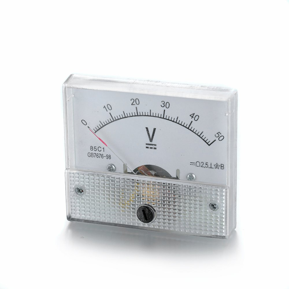 Professional 85C1-V White Voltmeter Gauge Range DC 0V-50V Analog Display Voltage Meter