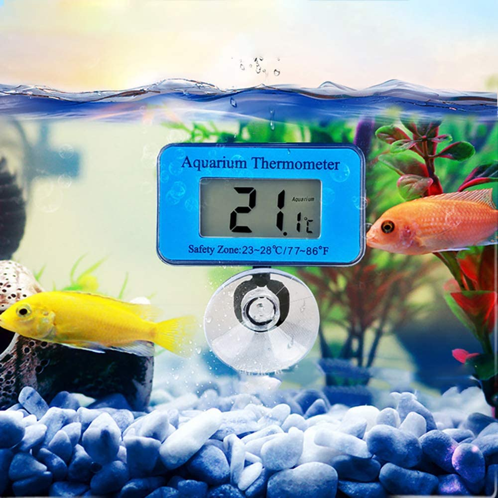 Verdelife Termometro Digitale per Acquari con Ventosa, Termometro Digitale Impermeabile, Termometro di Misurazione per Acquario per Acquari Tropicali E Marini, Termometro per Temperatura Dellacqua