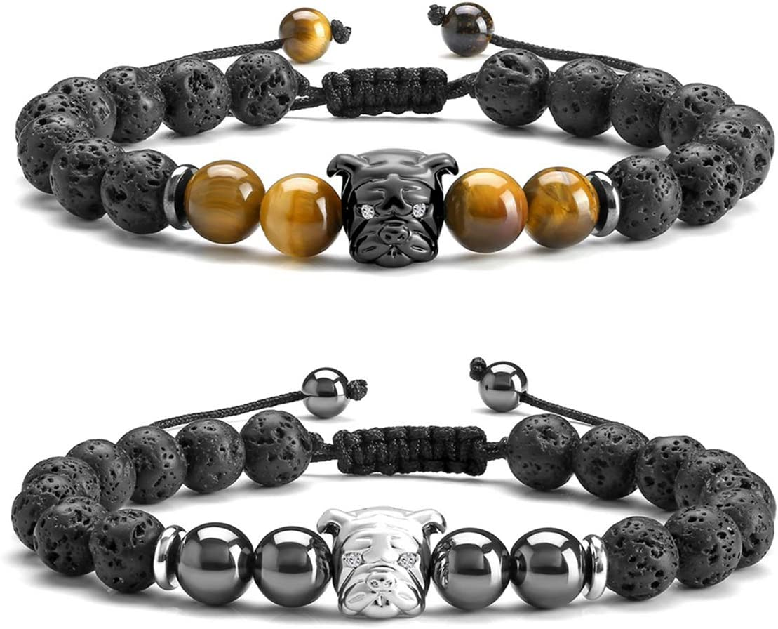 JSDDE - Pulsera de cristal curativo con difusor de piedra de lava, colgante de bulldog, meditación mala, pulseras elásticas de macramé religioso