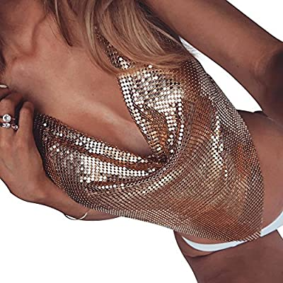 Women's Sexy Club Halter Sleeveless Silver Gold Luxury Rhinestone Crystal Pendant Sequin Crop Top