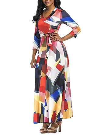 b7787ec5ff5 Nhicdns Women s V Neck 3 5 Sleeve Digital Floral Printed Party Loose Long  Maxi Dress