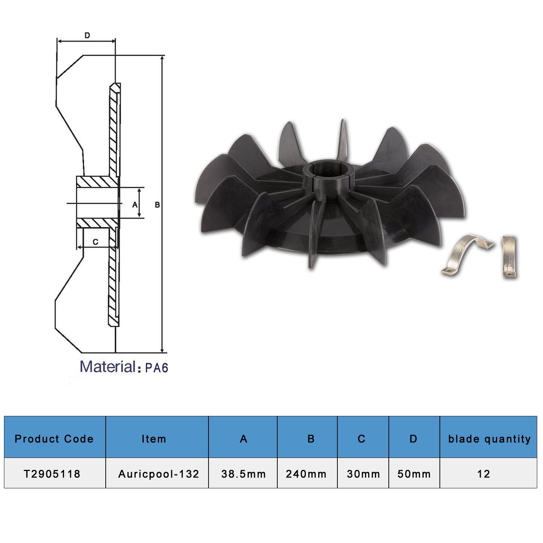 Ltd T2905118 Gogoal PA6-9 Fan Blade Auricpool-132 Air Compressor Motor Fan Blade Gogoal Industry co