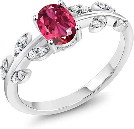 Ladies Sterling 925 Solid Silver Pink Tourmaline Solitaire /& White Sapphire Ring