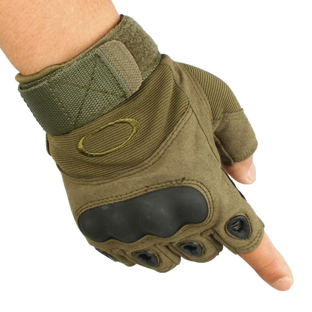 CQ Green Tactical Gloves Male Half Finger Sports Riding Mountaineering Equipment Outdoor Non-Slip Gloves (Size : M) SHOUTAO