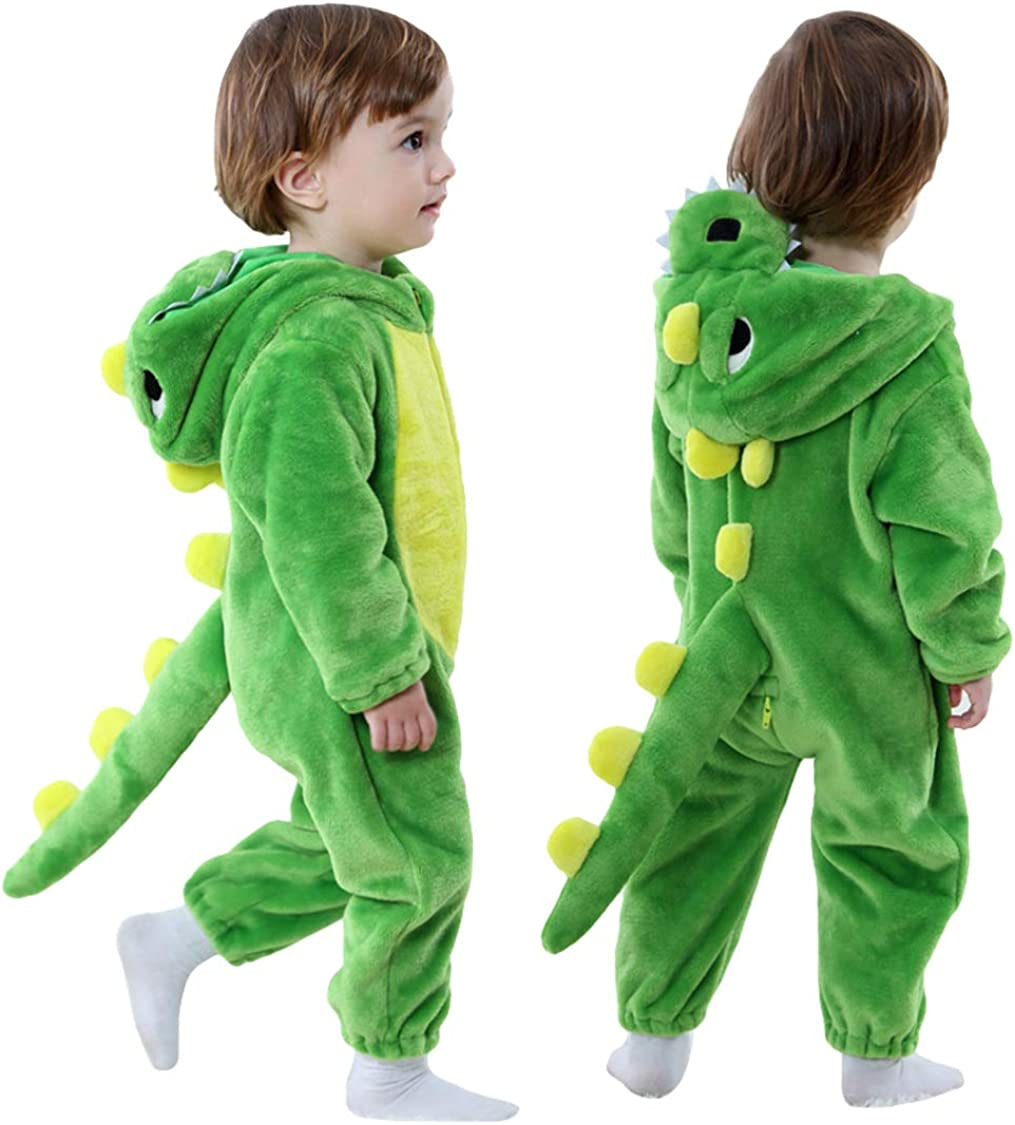 Mealeaf Toddler Outfits Infant Baby Girls Boys Dinosaur Hoodie Romper Jumpsuit Sleeping Wear Pajamas Clothes 0-3t Gray