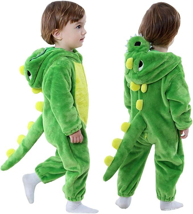 13 Yrs Onesies Animal Crazy Boys Supersoft Fleece Dinosaur Jumpsuit Playsuit Green Spot
