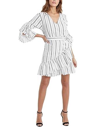 05b369b8b2c95f Lipsy Women Stripe Ruffle Mini Wrap Dress - White - 16  Amazon.co.uk   Clothing