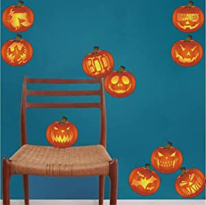 Halloween Pumpkin Decal Set of 10, Different Themes of Pumpkin Stickers for Home Decor, Kitchen Wall Art Murals, Thanksgiving Party Decoration,Orange(Second