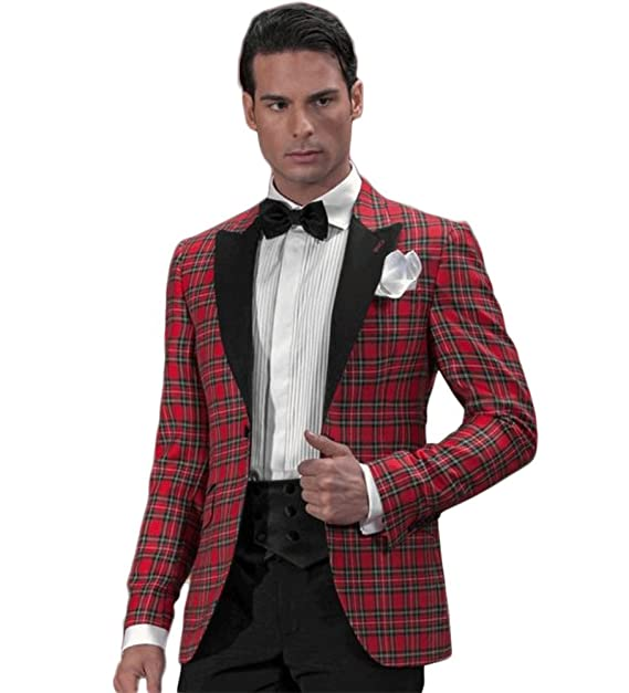 Amazon.com: Hombre tartán rojo traje 3 pc traje de boda para ...