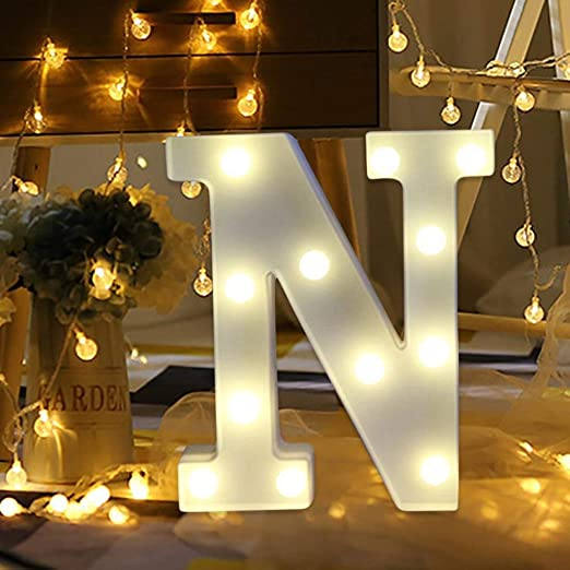 Amzure LED Marquee Letter Lights Sign 26 Alphabet Light Up Letters Sign for Night Light Wedding Birthday Party Battery Powered Christmas Lamp Home Bar Decoration (N)