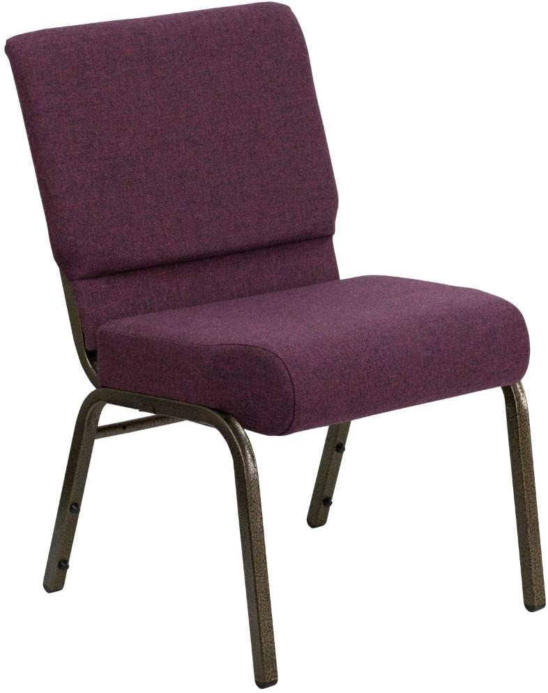 Flash Furniture HERCULES Series 21''W Stacking Church Chair in Plum Fabric - Gold Vein Frame
