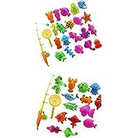 MagiDeal 2 set of 27Pcs Baby Time Magnetic Fishing Bath Toy Vivid Fish Model Set Kids Fish Toy Early Developmental