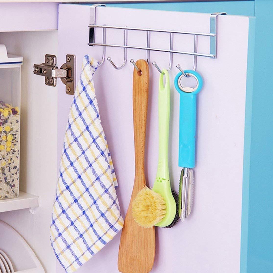 LouiseEvel215 Eco-Friendly Silver Metal Over Door Home Bathroom Kitchen Coat Towel Hanger Rack Holder Shelf 5 Hooks Hooks /& Rails