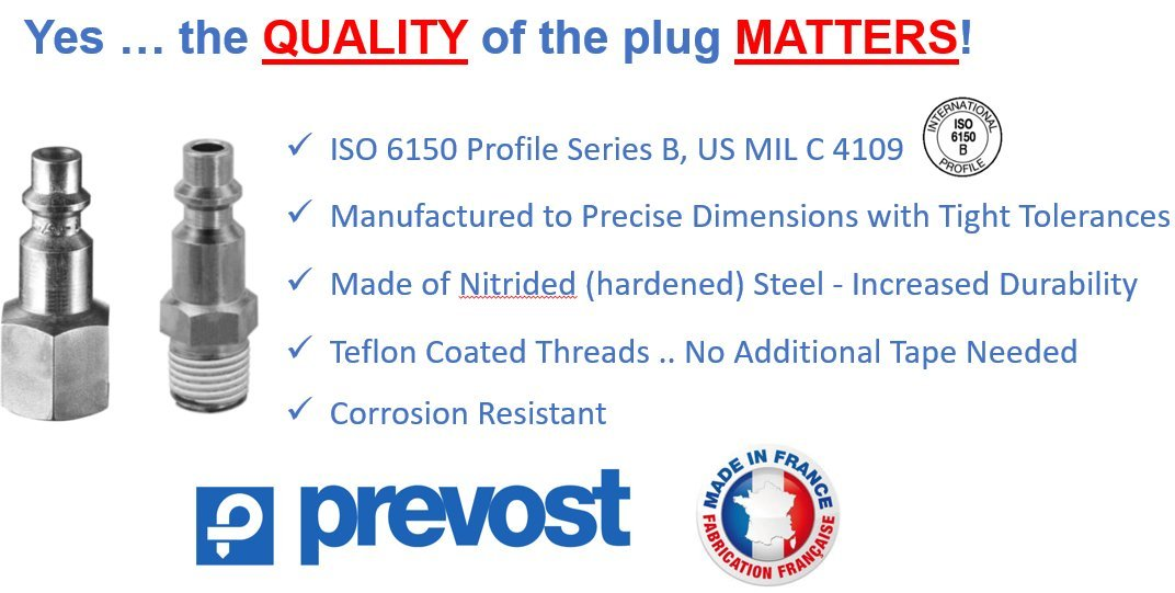 (1) Prevost, 1/4'', Industrial, IRC Regular Coupler/Compressed Air Fitting and (2) 1/4'' Male Threaded Plugs COMBO