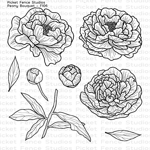 (Picket Fence Studios - Peony Bouquet - Clear Cling Stamp Set # F106)