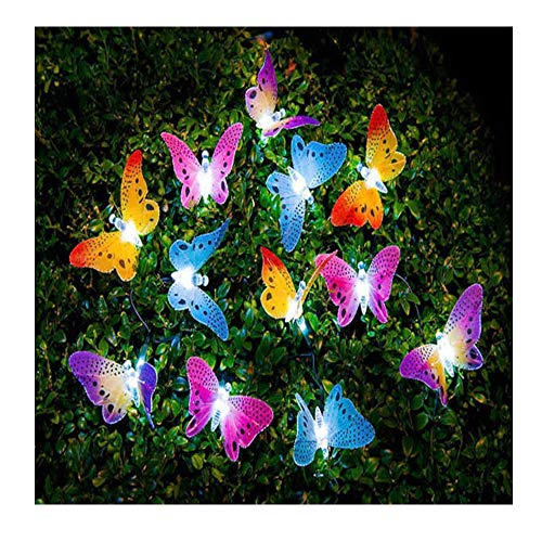 4.9M 20 Led String Lights Solar Powered Butterfly Fiber Optic Fairy String Outdoor Garden Lights for Garden, Patio, Lawn, Porch, gate, Fence, Yard Halloween, Christmas and Holiday Party Decoration.
