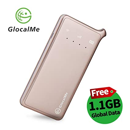 GlocalMe U2 4G Mobile Hotspot Global Wi-Fi with 1GB Global Initial Data,  SIM Free, Coverage in Over 100 Countries Featuring Free Roaming, Compatible