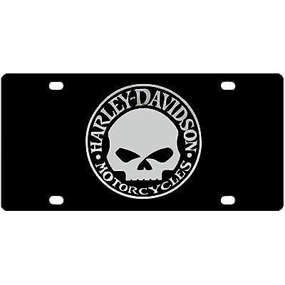 Harley Davidson Acrylic License Plate - Chrome Willie G Skull Emblem: Automotive