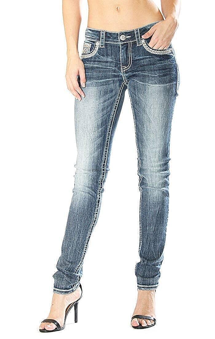 Grace in LA Mid Rise Aztec Easy Skinny Stretch Jeans