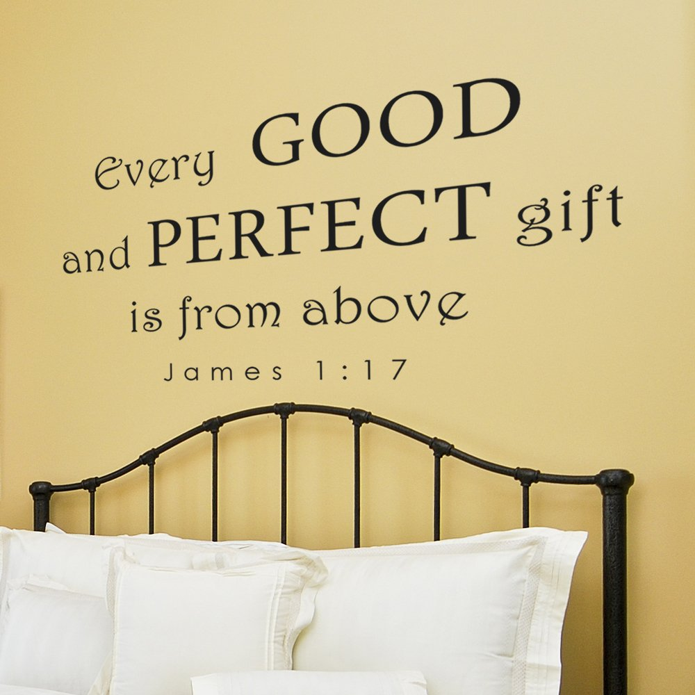Every Good and Perfect Gift Wall Decal - Baby Nursery Wall Quote - Christian Scripture Bible Verse for Baby Nurser (46x22'' State Gray)