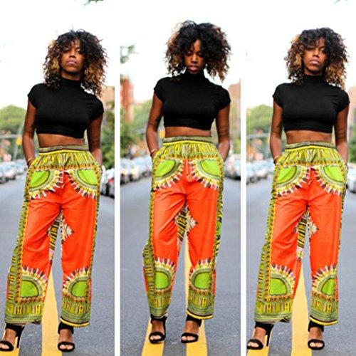 Fulltime® Été femme Casual Bohemian Imprimer traditionnelle africaine Pantalon large