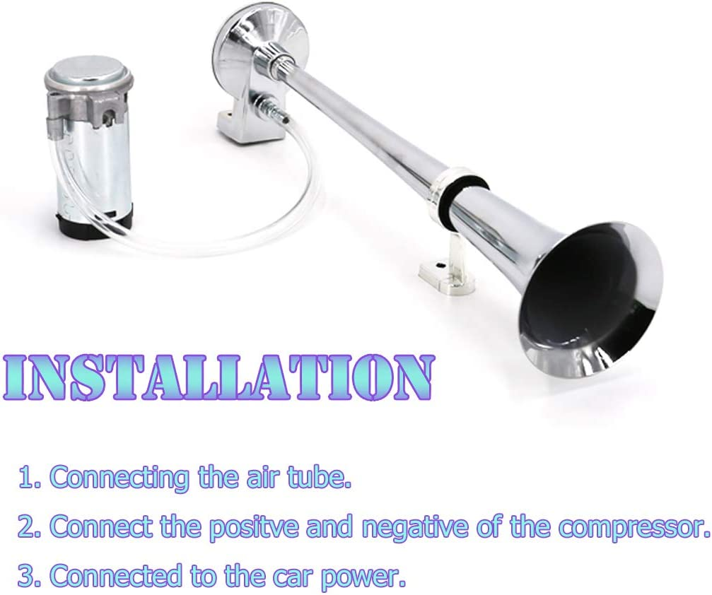Silver UTSAUTO 12V 150db Air Horn with Compressor 18 Inches Single Trumpet Truck Air Horn Kit for Any 12V Vehicles Trucks Lorrys Trains Boats Cars Motorcycle